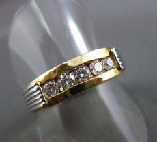 ESTATE .46CT DIAMOND 14KT TWO TONE GOLD 3D CHANEL ANNIVERSARY WEDDING RING #1312