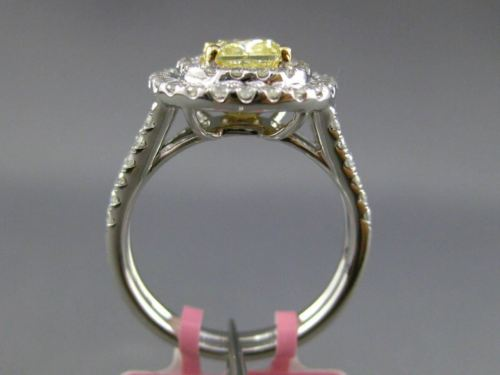 ESTATE LARGE GIA 2.16CT DIAMOND 18KT TWO TONE GOLD DOUBLE HALO ENGAGEMENT RING
