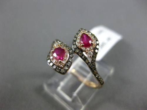 WIDE .73CT WHITE & CHOCOLATE FANCY DIAMOND & RUBY 14KT ROSE GOLD PEAR SNAKE RING