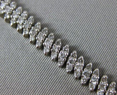 ESTATE WIDE & LONG 3.32CT DIAMOND 14KT WHITE GOLD 3D 3 ROW LEAF TENNIS BRACELET