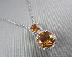 ESTATE 4.27CTW CITRINE & DIAMOND CIRCLE DROP 14KT WHITE GOLD NECKLACE W/ CHAIN