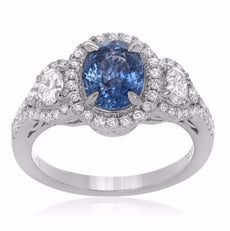 GIA CERTIFIED 2.27CT DIAMOND & AAA SAPPHIRE 18K WHITE GOLD HALO ENGAGEMENT RING