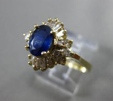 ESTATE 1.62CT DIAMOND & AAA SAPPHIRE 14KT YELLOW GOLD 3D ENGAGEMENT RING #10228