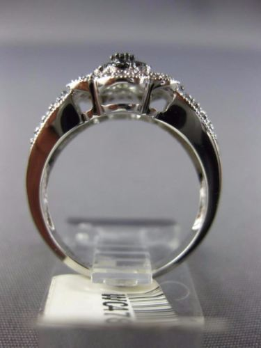 ESTATE WIDE .50CT WHITE & BLACK DIAMOND 14KT WHITE GOLD 3D PAVE FLOWER FUN RING