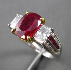 ANTIQUE PLATINUM & 18KT Y GOLD 5.18CT DIAMOND & RUBY 3 STONE ENGAGEMENT RING E/F