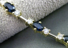 ESTATE LONG 5.0CT DIAMOND & SAPPHIRE 14KT TWO TONE GOLD 3 STONE TENNIS BRACELET