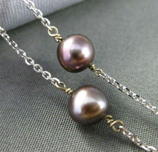 ESTATE TAHITIAN PEARL 14KT WHITE GOLD BY THE YARD DIAMOND CUT NECKLACE #24939