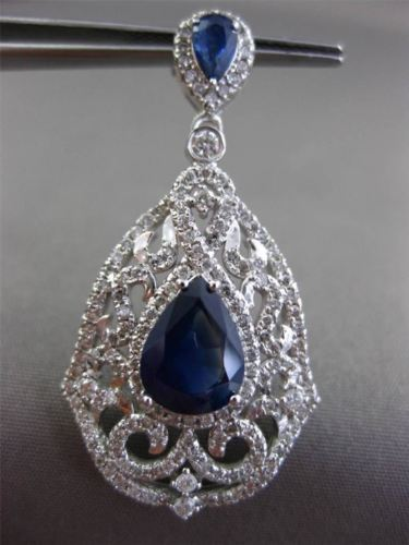 ANTIQUE 4.36CT DIAMOND & AAA SAPPHIRE 14KT WHITE GOLD FILIGREE HANGING EARRINGS