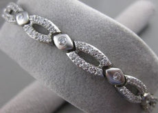 "ESTATE WIDE 2.80CTW DIAMOND 14K WHITE GOLD FILIGREE SWIRL BRACELET 7.4"" #21539"