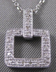 ESTATE .15CT DIAMOND 14K WHITE GOLD OPEN SQUARE FILIGREE PENDANT NECKLACE 20917