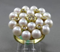 ESTATE LARGE .62CT DIAMOND & SOUTH SEA PEARL 18KT YELLOW GOLD FLORAL ETOILE RING