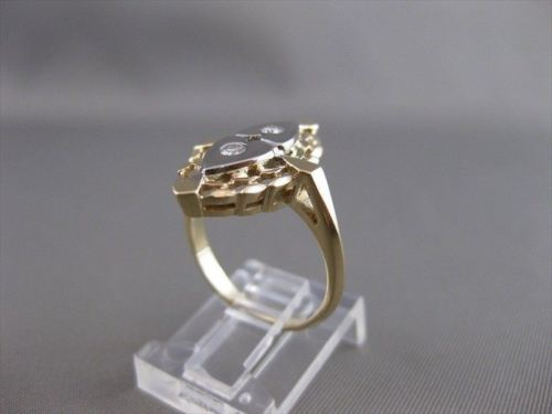 ANTIQUE .14CT DIAMOND 14KT WHITE YELLOW GOLD HEARTS FILIGREE COCKTAIL RING 21032