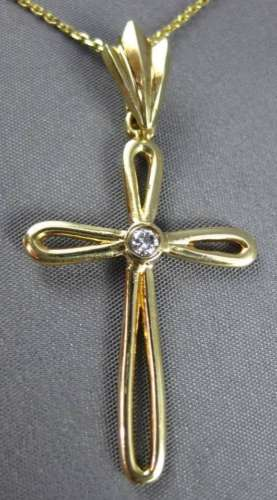 ANTIQUE .12CT DIAMOND 14KT YELLOW GOLD SOLITAIRE CROSS PENDANT & CHAIN #480