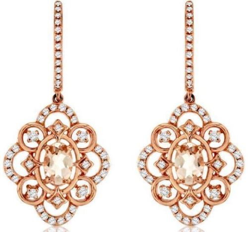 ESTATE 1.25CT DIAMOND & MORGANITE 14KT ROSE GOLD SQUARE FLOWER HANGING EARRINGS