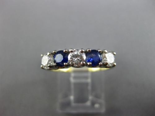 ESTATE 1.15CT DIAMOND SAPPHIRE 14KT TWO TONE GOLD WEDDING ANNIVERSARY RING 25467