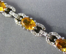 ESTATE 7.10CT DIAMOND & YELLOW SAPPHIRE 14KT WHITE GOLD 3D LOVE TENNIS BRACELET