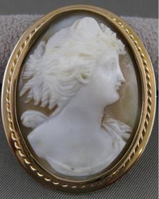 ANTIQUE LARGE 14K YELLOW GOLD ITALIAN LADY SHELL CAMEO PIN BROOCH PENDANT #19940