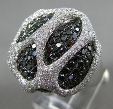 LARGE 2.67CT WHITE & BLACK DIAMOND 14KT WHITE GOLD PAVE TEAR DROP COCKTAIL RING