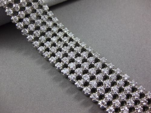 ESTATE WIDE & LONG 9.80CT ROUND DIAMOND 14K WHITE GOLD MULTI ROW TENNIS BRACELET