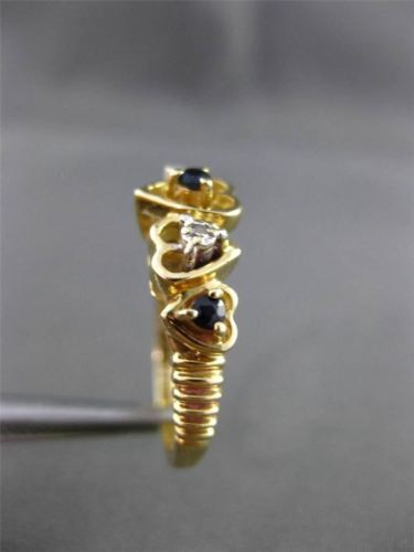 ANTIQUE .11CT DIAMOND & SAPPHIRE 14KT YELLOW GOLD 3D MULTI HEART LOVE RING 24517