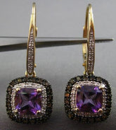 ESTATE 2.37CT DIAMOND & AMETHYST 14KT TRI COLOR GOLD LEVERBACK HANGING EARRINGS