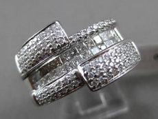 ESTATE WIDE 1.12CT DIAMOND 18KT WHITE GOLD ROUND & PRINCESS 3D FUN COCKTAIL RING