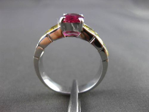 ANTIQUE 2.77CT RUBY & YELLOW SAPPHIRE 18KT WHITE GOLD CLASSIC ENGAGEMENT RING
