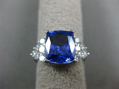 LARGE 4.65CT DIAMOND & AAA TANZANITE 18KT WHITE GOLD 3D SQUARE ENGAGEMENT RING