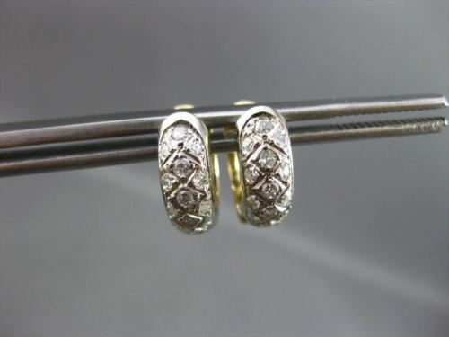 ESTATE WIDE .54CT DIAMOND 14K WHITE & YELLOW GOLD 2 SIDED HUGGIE EARRINGS #22452