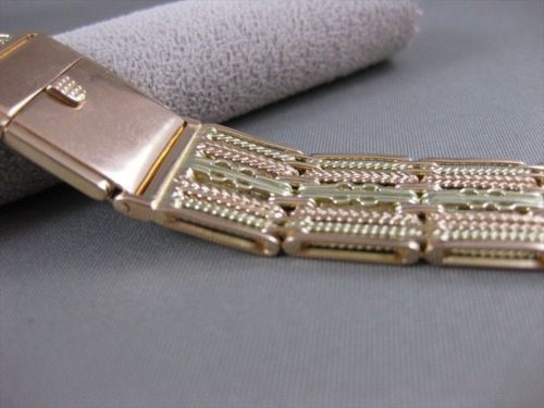 "ANTIQUE 18MM WIDE 14KT YELLOW ROSE GOLD FILIGREE WATCH BAND 7.00"" INCH #26440"
