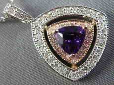 LARGE 1.15CT DIAMOND & AAA AMETHYST 14K WHITE & ROSE GOLD 3D DOUBLE HALO PENDANT