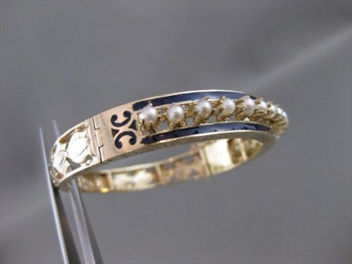 ANTIQUE VICTORIAN PEARL 14K GOLD BLUE ENAMEL FILIGREE BANGLE BRACELET 9MM #20957