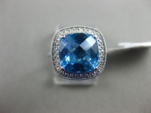 WIDE 3.32CT DIAMOND & AAA BLUE TOPAZ 14K WHITE GOLD 3D HALO FILIGREE SQUARE RING