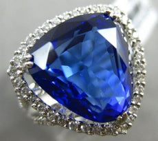 LARGE 11.33CT DIAMOND & AAA TANZANITE 18K WHITE GOLD 3D TRILLION ENGAGEMENT RING