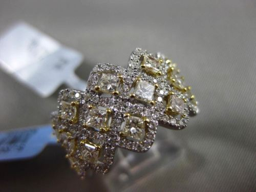 ESTATE WIDE 2.50CT WHITE & FANCY YELLOW DIAMOND 18K WHITE GOLD INTERTWINING RING