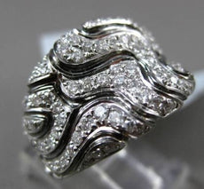 ESTATE WIDE 1.20CT DIAMOND 18KT BLACK & WHITE GOLD 3D FILIGREE COCKTAIL FUN RING