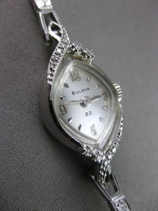 ANTIQUE .15CT OLD MINE DIAMOND 14KT WHITE GOLD BULOVA MARQUISE FACE WATCH #2198