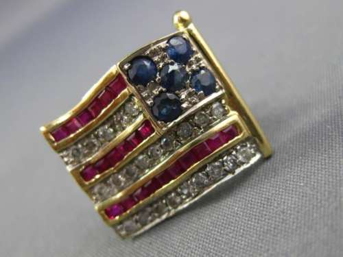 ANTIQUE 1.17CT DIAMOND & AAA SAPPHIRE & RUBY 14K TWO TONE GOLD AMERICAN FLAG PIN