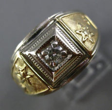 ESTATE WIDE .10CT DIAMOND 14K WHITE & YELLOW GOLD SHOOTING STAR SQUARE MENS RING