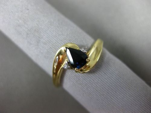 .52CT DIAMOND & AAA SAPPHIRE 14K YELLOW GOLD PEAR SHAPE INFINITY PROMISE RING