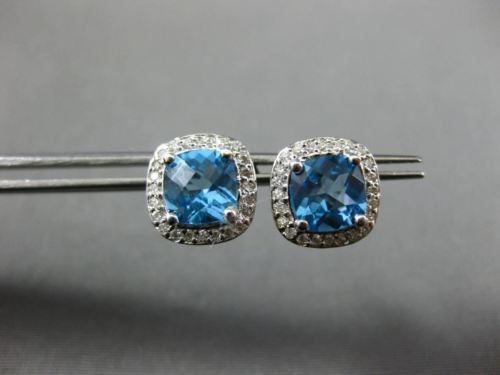ESTATE 2.28CT DIAMOND & AAA BLUE TOPAZ 14KT WHITE GOLD SQUARE HALO STUD EARRINGS