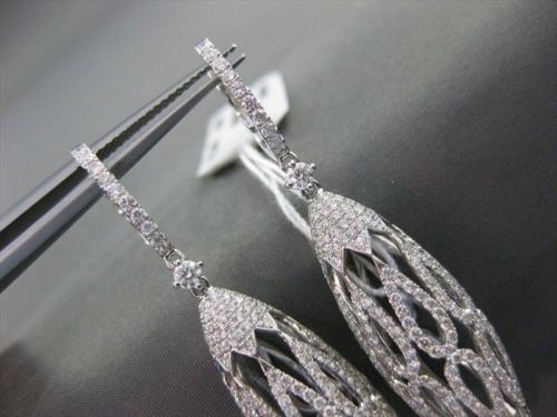 ANTIQUE 3.07CT DIAMOND 18K WHITE GOLD LONG FILIGREE DOME HANGING EARRINGS E00897