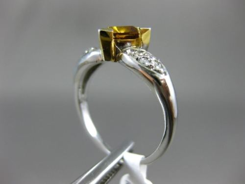 1CT ROUND & TRILLON WHITE & FANCY YELLOW DIAMOND 14KT WHITE GOLD ENGAGEMENT RING