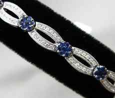 ESTATE WIDE 3.24CT DIAMOND & SAPPHIRE 14KT WHITE GOLD 3D FLOWER TENNIS BRACELET