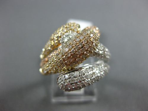 ESTATE LARGE 1.55CT DIAMOND 14KT TRI COLOR GOLD MULTI ROW PAVE CRISS CROSS RING