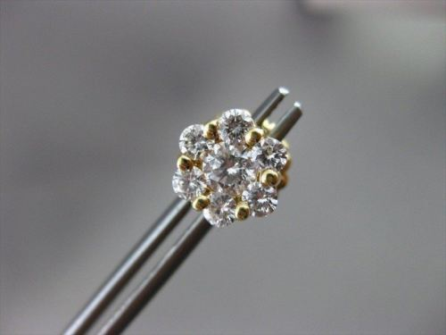 ESTATE 1.58CT ROUND CLUSTER DIAMOND 14KT YELLOW GOLD FLOWER STUD EARRINGS #1241