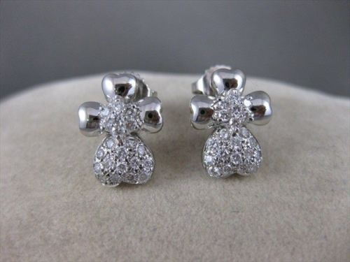 ESTATE .65CTW DIAMOND PAVE SHAMROCK HEART FLOWER 14KT WHITE GOLD EARRINGS #16559