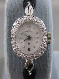 ANTIQUE OLD MINE EURO CUT DIAMOND LADY HAMILTON 14K WHITE GOLD WATCH #20312