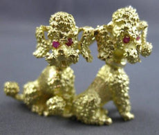 ESTATE AAA .10CT RUBY 18KT WHITE & YELLOW GOLD 3D TWIN POODLE BROOCH PIN #2965