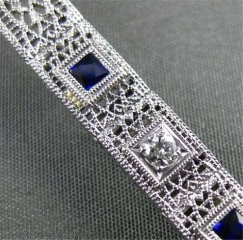 ANTIQUE 1.38CT DIAMOND & AAA SAPPHIRE PLATINUM & 14KT FILIGREE BRACELET #22087